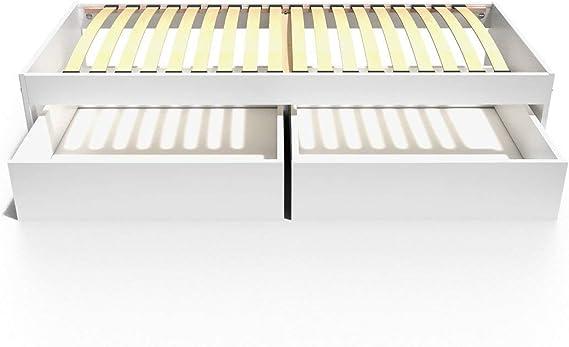 ABC MEUBLES - Cama Individual Malo 90x190 cm + cajones - TOPMALO90T - Blanco, 90x190: Amazon.es: Hogar