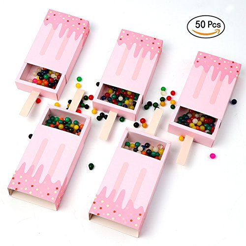AerWo 50pcs Ice Cream Candy Boxes Cute Baby Shower Favors Boxes Gifts Bags for First Birthday Party Boy Decoration, (Halloween Ice Cream Games)
