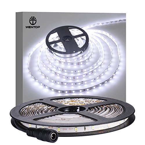 WenTop Waterproof Led Strip Lights SMD 3528 16.4 Ft (5M) 300leds 60leds/m White Flexible Tape Lighting Tape Lights in DC Jack for Boats, Bathroom, Mirror, Ceiling - Not Include Power Supply ()