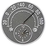 Whitehall Solstice Thermometer Clock (Pewter/Silver)