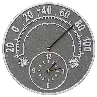 Aluminum Thermometer (Solstice 14-in Indoor Outdoor Wall Clock & Thermometer - 01785)