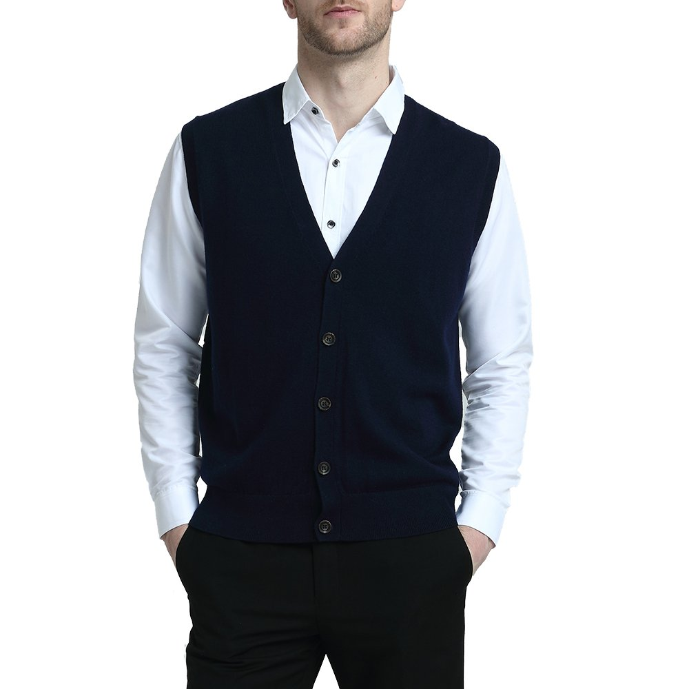 Kallspin Relaxed Fit Mens V-Neck Vest Sweater Cashmere Wool Blend Front Button (Navy Blue, XXL)