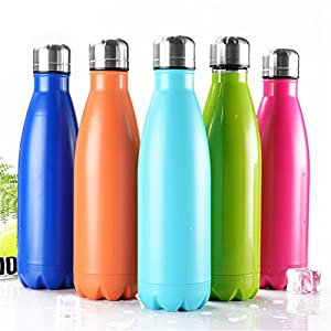 OJESS Water Bottle Double-walled Stainless Steel Sports Bottle Camping Travel Mug Healthy Drinks Hot 500 ml -17OZ BPA Free (Orange)