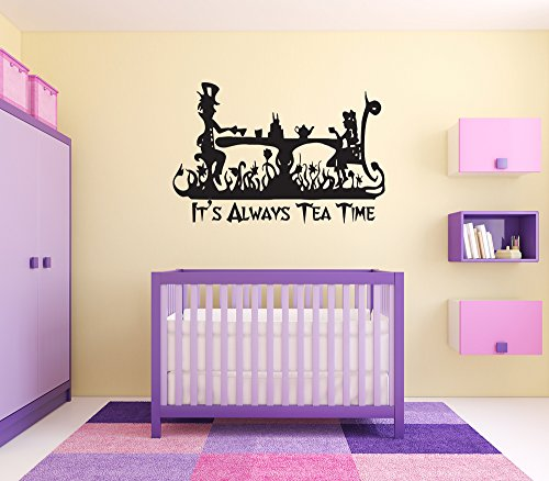 (Alice in Wonderland Wall Vinyl Sticker Cheshire Cat Queen of Heart White Rabbit Caterpillar Duchess Decor Fairy Tale Cartoon Disney Character Girl Boy Nursery Kids Room Poster Art)