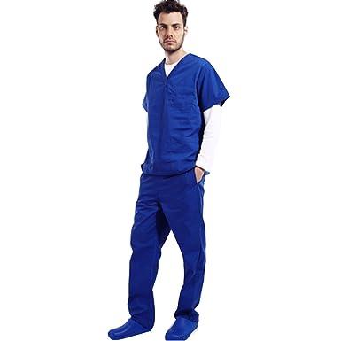 39c57a3eca6 Amazon.com: Men's Medical Hospital Nursing Clinic Scrub Set Uniform Unisex  Tops & Pants: Clothing