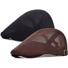 2 Pack Men Breathable mesh Summer hat Newsboy Beret Ivy Cap Cabbie Flat Cap