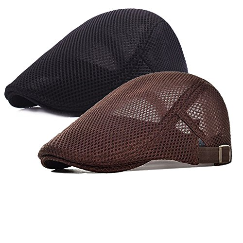 2 Pack Men Breathable mesh Summer hat Newsboy Beret Ivy Cap Cabbie Flat Cap Brown/black
