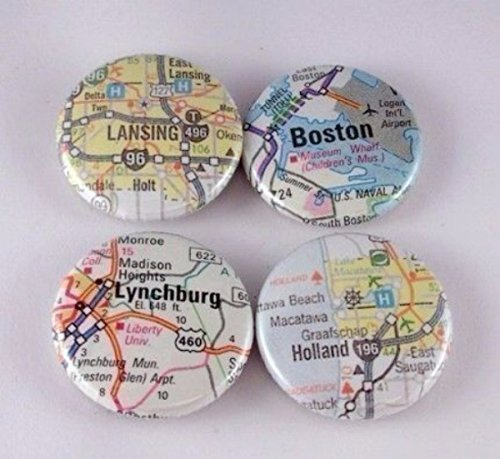 US Atlas or International Map One Inch Button Magnets You Choose Cities Towns States Set of 4