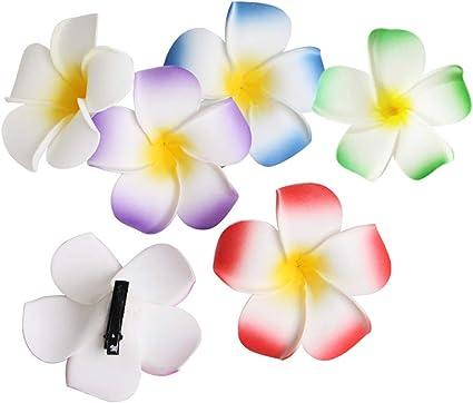 10 PCS Hawaiian Frangipani Plumeria Foam Head Flower Party Beach Hair Clip 3''