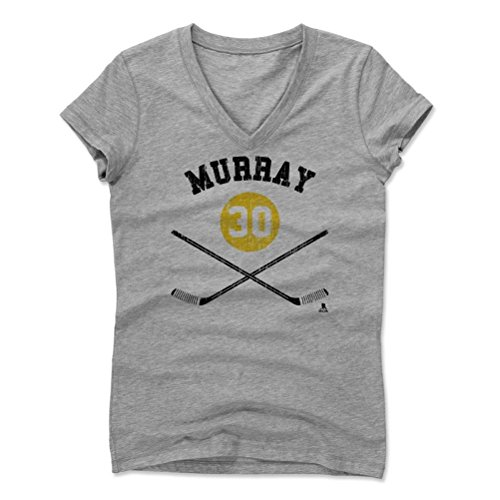 500 LEVEL's Matt Murray Sticks Y Pittsburgh Hockey Women's V-Neck M Athletic Gray Officially Licensed by the National Hockey League Players Association (NHLPA)