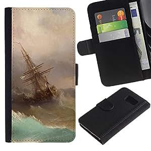 iBinBang / Flip Funda de Cuero Case Cover - Storm Painting Sailing Art Waves - Samsung Galaxy S6 SM-G920