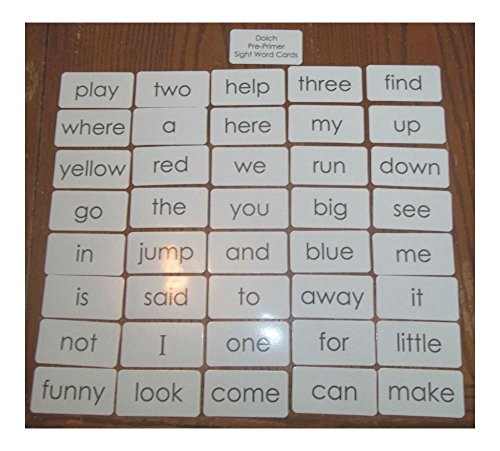 Dolch Pre-Primer sight word flash cards. Preschool and PreK educational phonics.