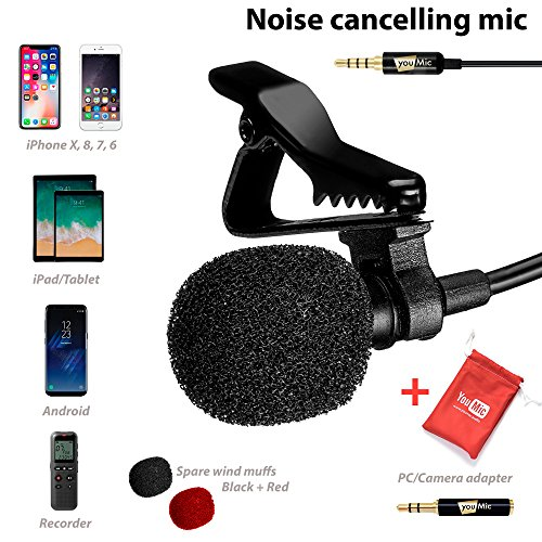 Lavalier Lapel Microphone with Easy Clip On System - Perfect for Recording Youtube Vlog Interview/Podcast - Best Lapel Mic for iPhone 5, 6, 6s, 7, 7 plus, 8, X iPad - Microphone Ipad