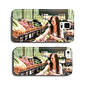 young woman buys fruit and vegetables in the supermarket cell phone cover case iPhone6 Plus