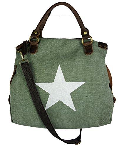 VERA PELLE - Made in Italy, Borsa a mano donna Verde Khaki - L