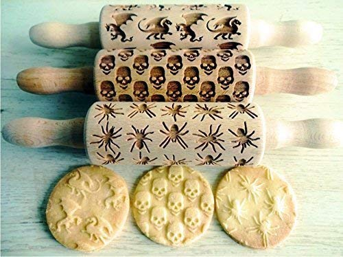 CREEPY 3 KID Rolling pin SET Wooden Laser Cut Mini Rolling Pins for cookies play dough salt dough or clay Skulls Dragons Spiders -