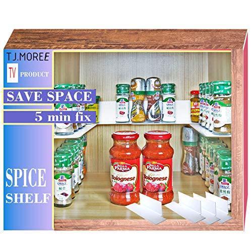 "(TJ.Moree Invisible Spicy Jar Self Adhesive Spice Organizer Metal Stackable for Kitchen Cabinet 8.9"" Length (4 Pack))"