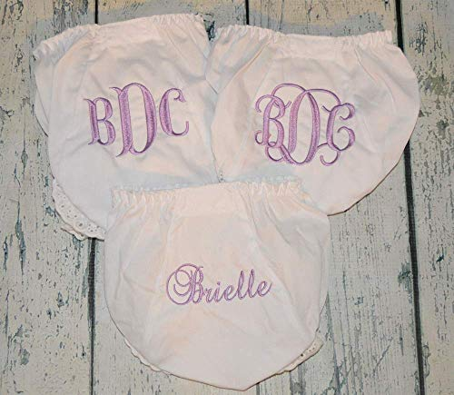 Personalized set of 3 Baby Bloomer, Monogram Diaper Covers, Embroidered Baby Gift