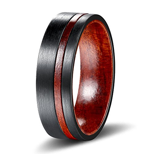 POYA 8mm Tungsten Ring Black Plated Wedding Band with Wood Sleeve