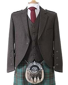 Crail Highland chaqueta y cinco botón chaleco en turba marrón Tweed de Arrochar–corto ajuste