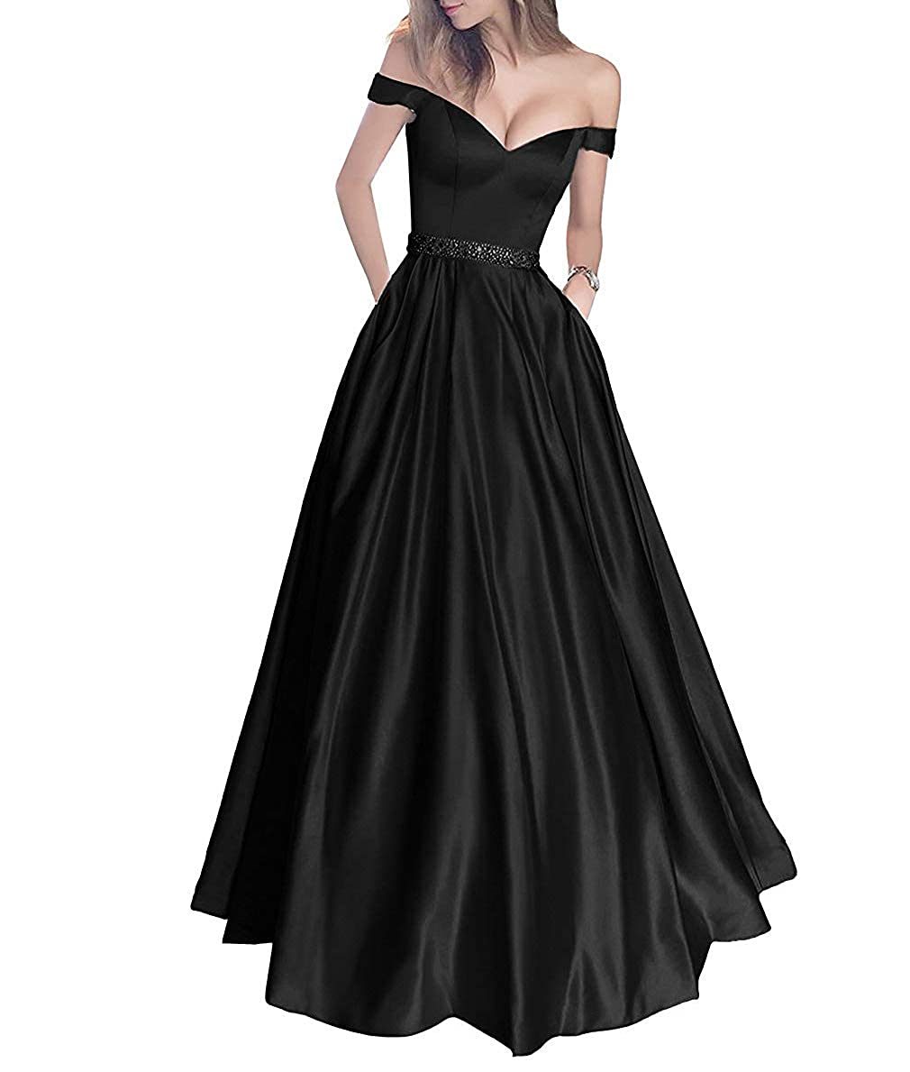 Style1 Black Engerla Bridal Women's Satin Prom Dress Off The Shoulder Beaded Aline Long Homecoming Dress