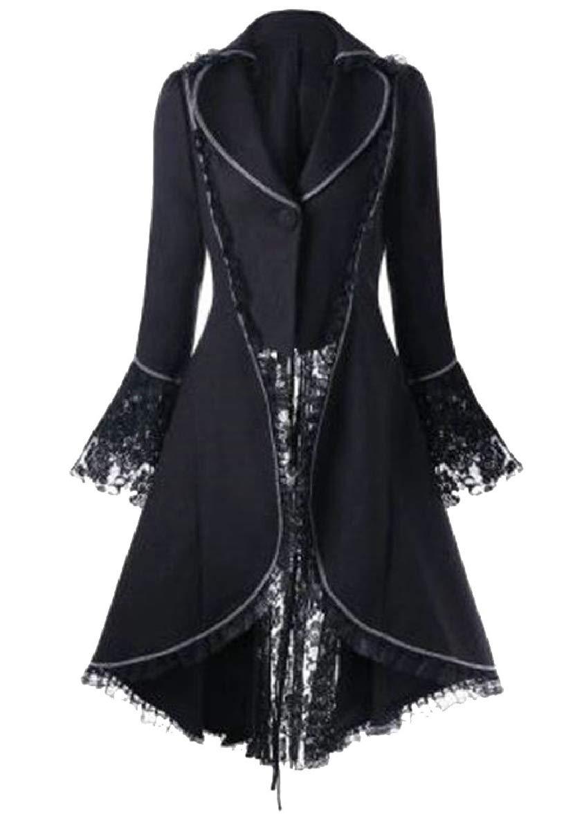 CBTLVSN Women's Gothic Vintage Steampunk Tuxedo Bandage LaceVictorian Trench Coat 4