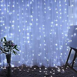 Kanzd 300 Led Curtain Lights Party Wedding Fairy Indoor Outdoor Christmas Garden Light Curtain (White)