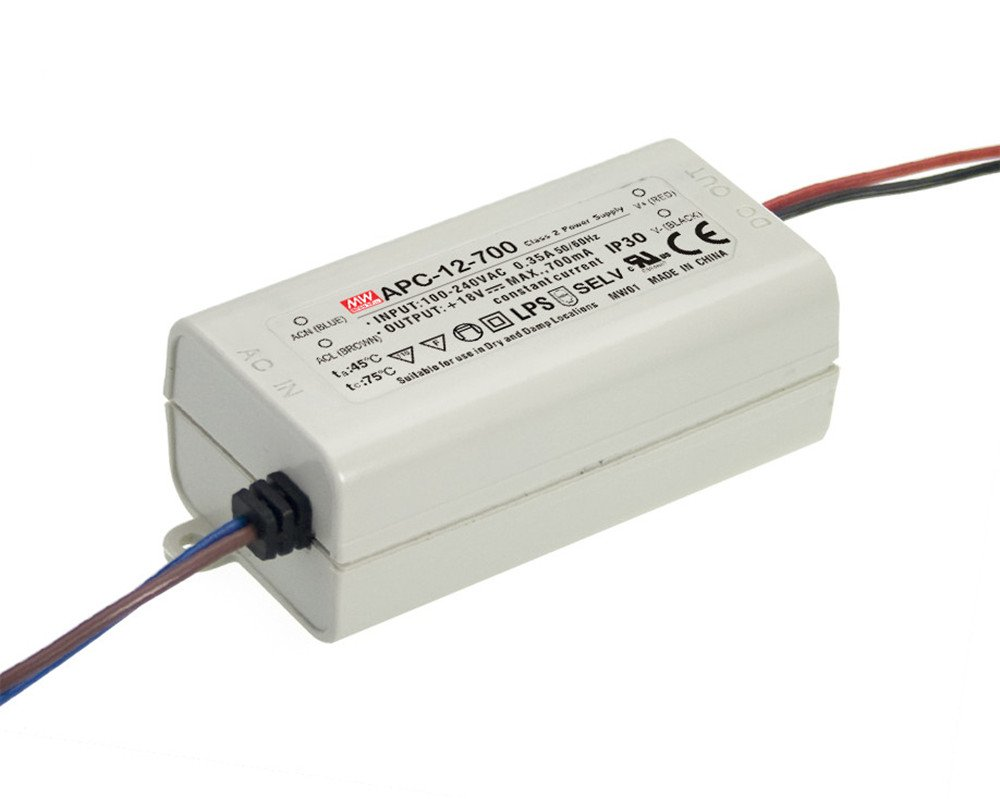 MEAN WELL ,Switching Power Supply LED Driver;110V-220V AC-DC Single Output 、Constant Current,Transformer,12W 9-18V 700mA (APC-12-700)