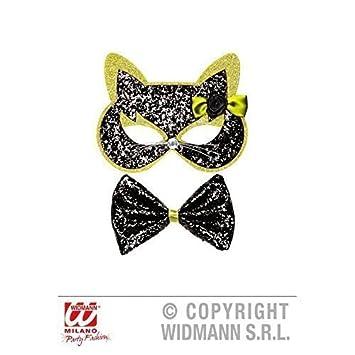 Máscara/máscara de gato y pajarita Negro - Verde