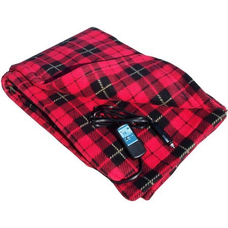 Heated Blanket. Best Heat Up Soft Portable Washable Winter Electric Lap Fleece Throw. Warm Wrap Rug W/ Timer For 12v Dc Socket Car, Truck, Boat, Travel, Fishing, Children, Kids & Adults. (Red Plaid)