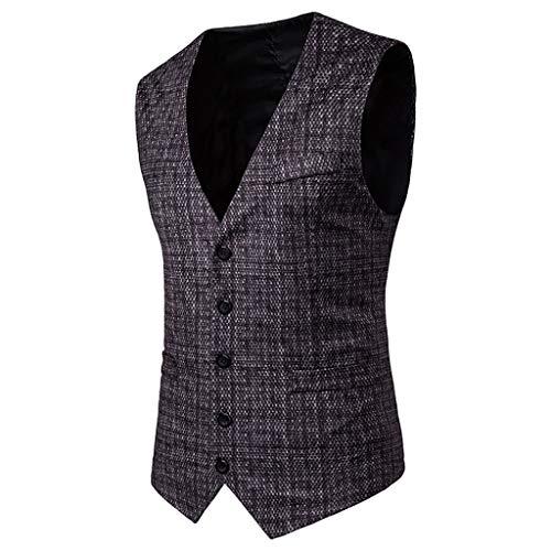 Rétro Mariage Business Mode Manche Noir Fit Unie Vest Winjin Manches Couleur Casual Tweed Veste De Gilet Slim Costume Pour Homme Sans qxqzwAapP