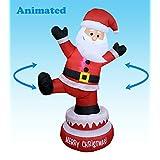 5foot Tall Lighted Animated al aire última intervensión Patio Interior De Papá Noel de Papá Noel hinchable de Navidad