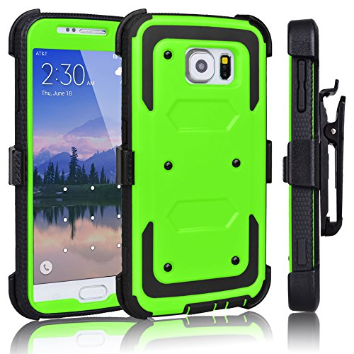 Galaxy S6 Case, Tekcoo(TM) [TShell Series] [Green] Shock Absorbing [Kickstand] Holster Locking Belt Clip Defender Heavy Duty Combo Case Cover Shell for Samsung Galaxy S6 S VI G9200 All Carriers