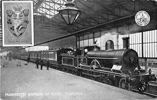 Manchester Express at Rugby Platform England Train Antique Postcard J50785