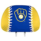 Promark Milwaukee Brewers Printed Full Color 2-Pack Head Rest Covers Elastic Auto Baseball