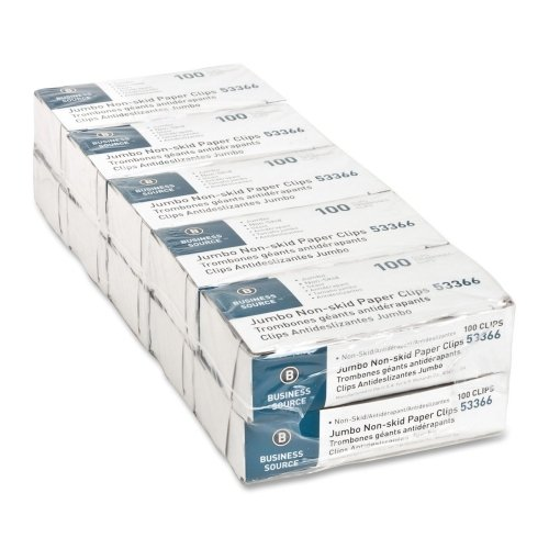 Wholesale CASE of 20 - Bus. Source Nonskid Paper Clips-Paper Clips, Jumbo, Nonskid, 1000/PK, Silver by BSN
