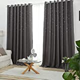 QINUO HOME Hollow Cut Star Blackout Ring Top Pair Brown Reducing Microfiber Curtains, Thermal Insulated & Warm Protecting for Kid's Room,2 Pieces, Width 66' by Length 72', Coffee