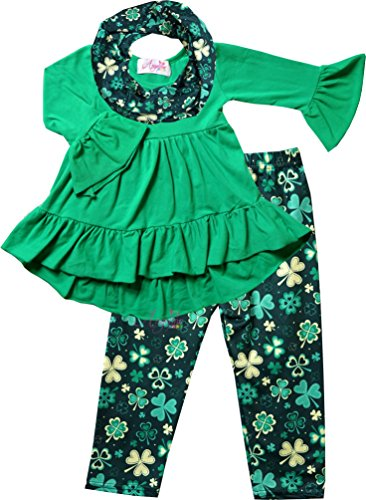 Boutique Clothing Girls ST Patrick's Day Shamrock Clover Hi-Low Scarf Set Green/Gold 12-18M/3XS (St Patricks Day Baby Clothes)