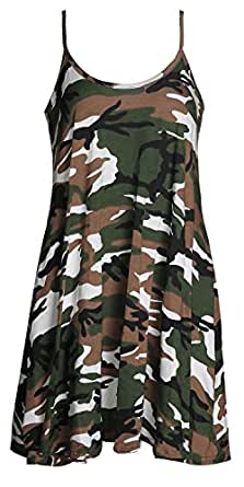 Forever Women's Scoop-Neck Graphic Sleeveless Short Fit-and-Flare Dress, Army, 6/8