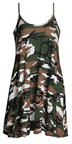 - Forever Women's Scoop-Neck Graphic Sleeveless Short Fit-and-Flare Dress, Army, 10/12