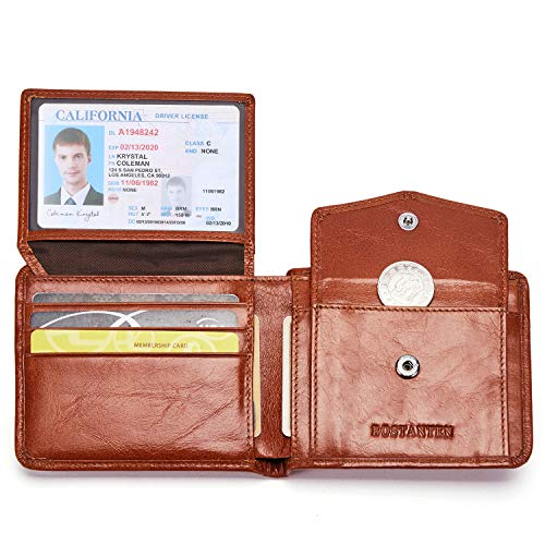 - BOSTANTEN Genuine Leather Wallets for Men Bifold RFID Blocking Wallet with 2 ID Window Red Brown