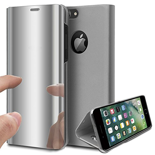 Price comparison product image iPhone 8 Plus Case, iPhone 7 Plus Case, ikasus Ultra-Slim Luxury Plating Mirror Makeup Case Cover PU Leather Flip Stand Kickstand Protective Case Cover for Apple iPhone 7 Plus / iPhone 8 Plus, Silver