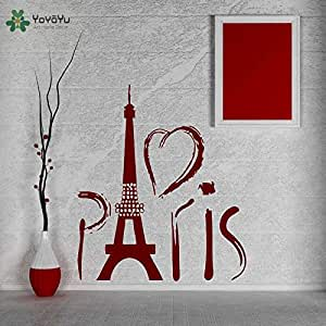 ganlanshu Torre de París Caliente Francia Amor Romance Viaje Europa Etiqueta de la Pared Diseño Decoración del hogar Dormitorio Calcomanía de Pared Interior Mural 75cmX97cm: Amazon.es: Hogar