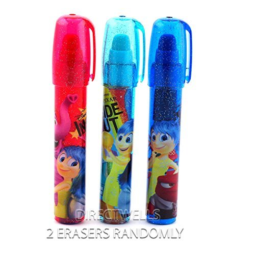 Disney Pixar Inside Out Erasers Lipstick Style - 2 ERASERS (RANDOMLY)