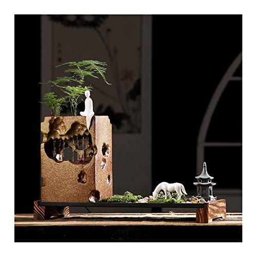 Shui Feng Water (LYQZ Chinese Ceramic Water Humidifier Desktop Decoration Living Room Home Feng Shui Lucky Micro Landscape Zen Fountain)