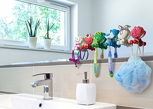 BOLICA Toothbrush Holder,Cute Cartoon Animal Toothbrush Holder With Suction Cup,Kids Toothbrush Holder,Suction Cup Hook 6 Pcs