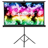 Excelvan HD Portable Projector Screen with Foldable Stand Tripod, Diagonal 16:9 Indoor Outdoor Movie Screen Adjustable Wrinkle-Free Projection Screen for Home Cinema Presentation (100 inch)
