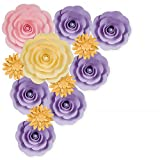 PaperLanternStore.com 12-Pc Combo Giant Vanillia / Lavender Ranunculus Paper Flower Backdrop Wall Decor for Large Weddings, Photo Shoots, Birthday Parties and More