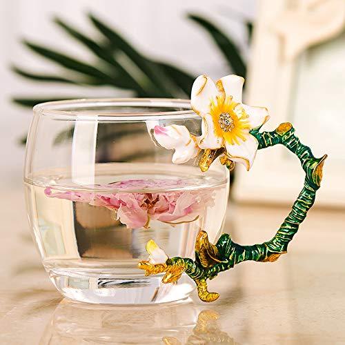 568 Rose - W&L Glass Tea Cup Coffee Mug,Handmade Glass Drinking Mug Made of Lead Free Glass and Enamels Unique Rose Flower Enamel Design Birthday Decoration Wedding Gift Ideas,320ml