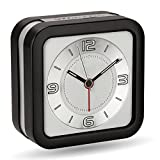Peakeep Loud Melody Alarm Clock for Hearing Impaired with Snooze and Backlight, Battery Operated Quartz Analog Clocks for Heavy Sleepers (Black)